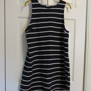Maison Jules Navy White Stripe Sleeveless Dress Lg